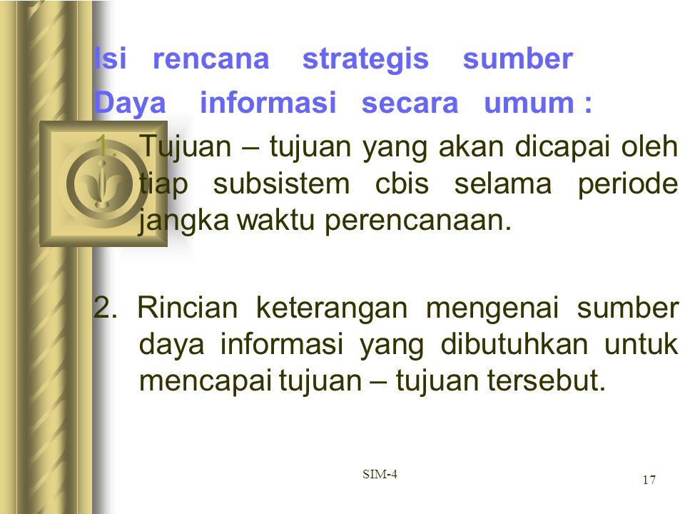 17 SIM-4 Isi rencana strategis sumber Daya informasi secara umum : 1.Tujuan – tujuan yang akan dicapai oleh tiap subsistem cbis selama periode jangka
