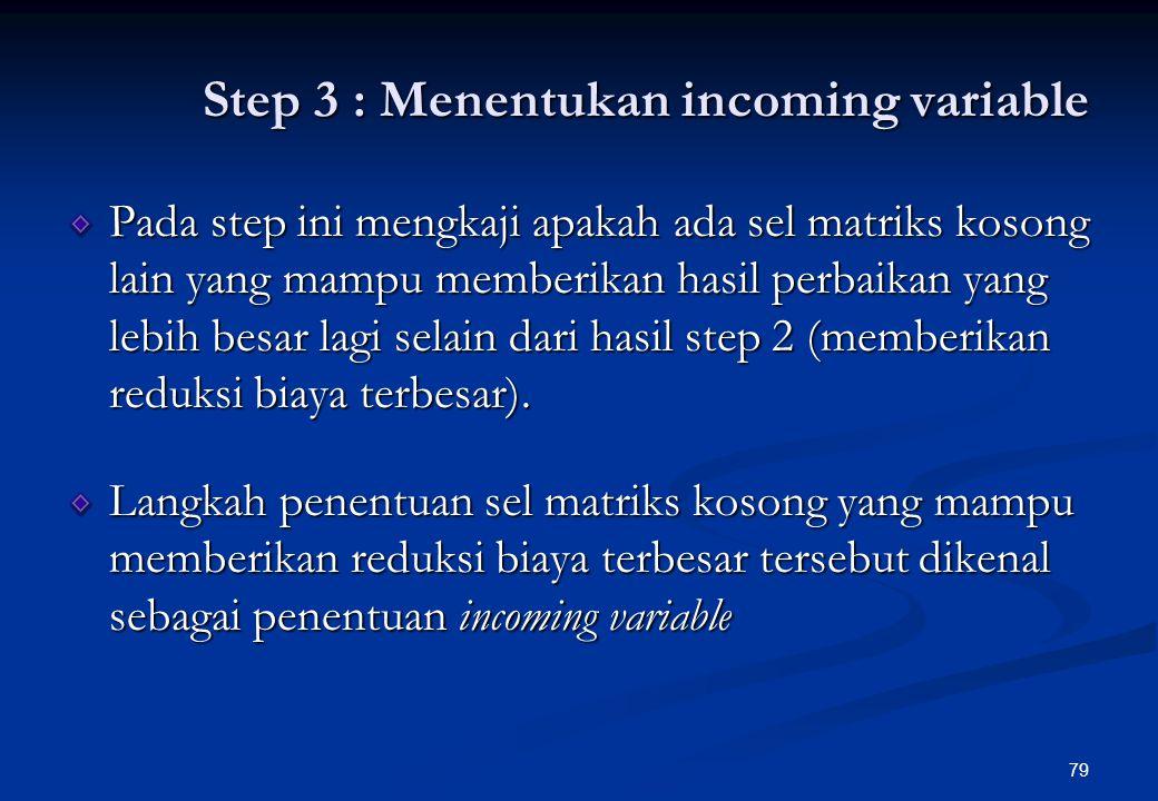 78 Sel Matriks Yang Ditempati Alokasi Penyesuaia n Perubahan Biaya Total Indeks Perbaikan Untuk Alokasi F 3 -A 1 per unit produk F 3 -A 1 F 3 -A 3 F 2