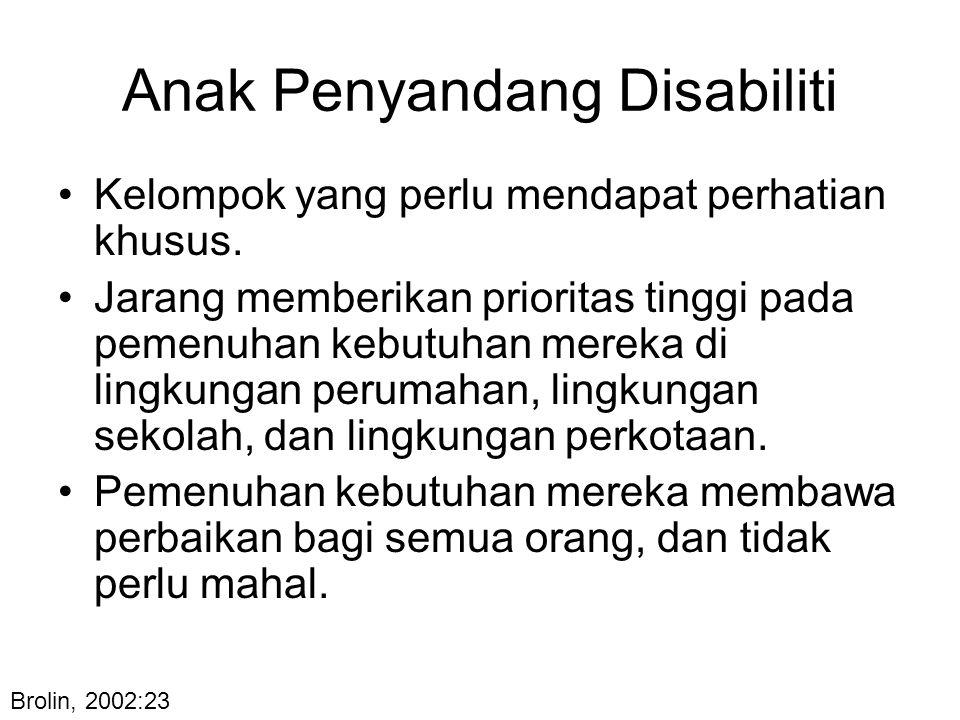 Anak Penyandang Disabiliti Kelompok yang perlu mendapat perhatian khusus. Jarang memberikan prioritas tinggi pada pemenuhan kebutuhan mereka di lingku