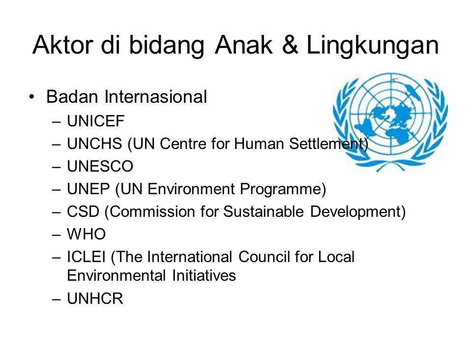 Aktor di bidang Anak & Lingkungan Badan Internasional –UNICEF –UNCHS (UN Centre for Human Settlement) –UNESCO –UNEP (UN Environment Programme) –CSD (C