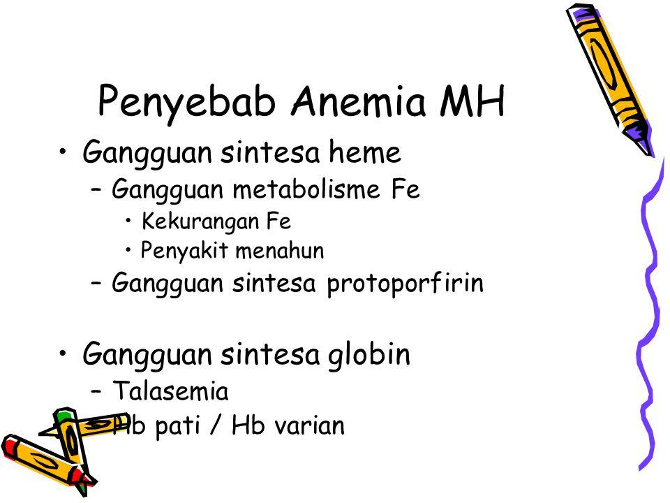 Penyebab Anemia MH Gangguan sintesa heme –Gangguan metabolisme Fe Kekurangan Fe Penyakit menahun –Gangguan sintesa protoporfirin Gangguan sintesa globin –Talasemia –Hb pati / Hb varian