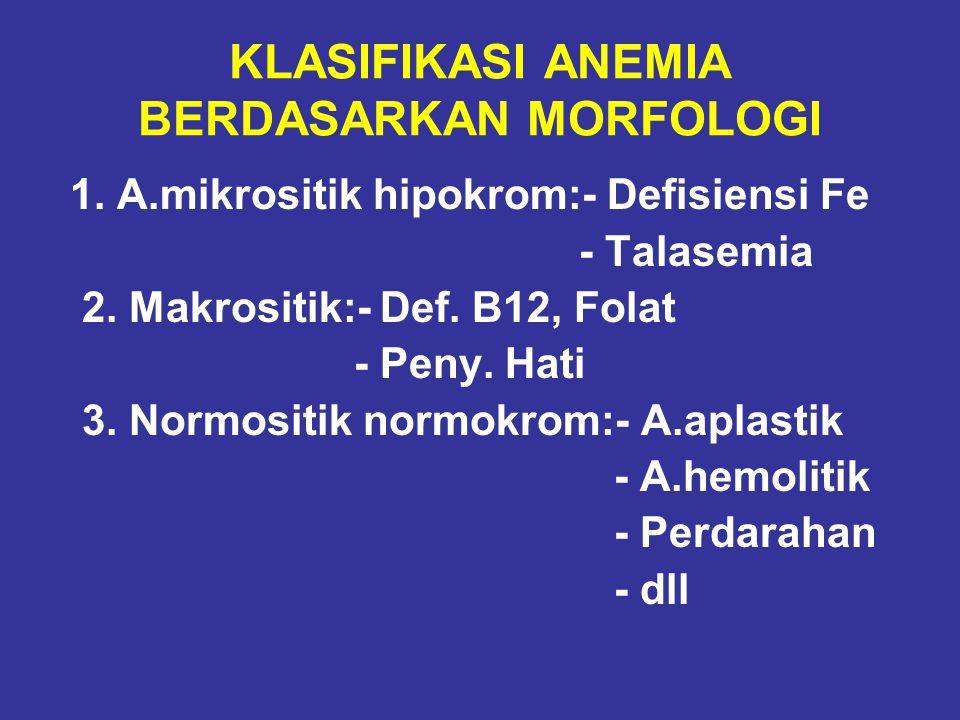 KLASIFIKASI ANEMIA BERDASARKAN MORFOLOGI 1. A.mikrositik hipokrom:- Defisiensi Fe - Talasemia 2. Makrositik:- Def. B12, Folat - Peny. Hati 3. Normosit