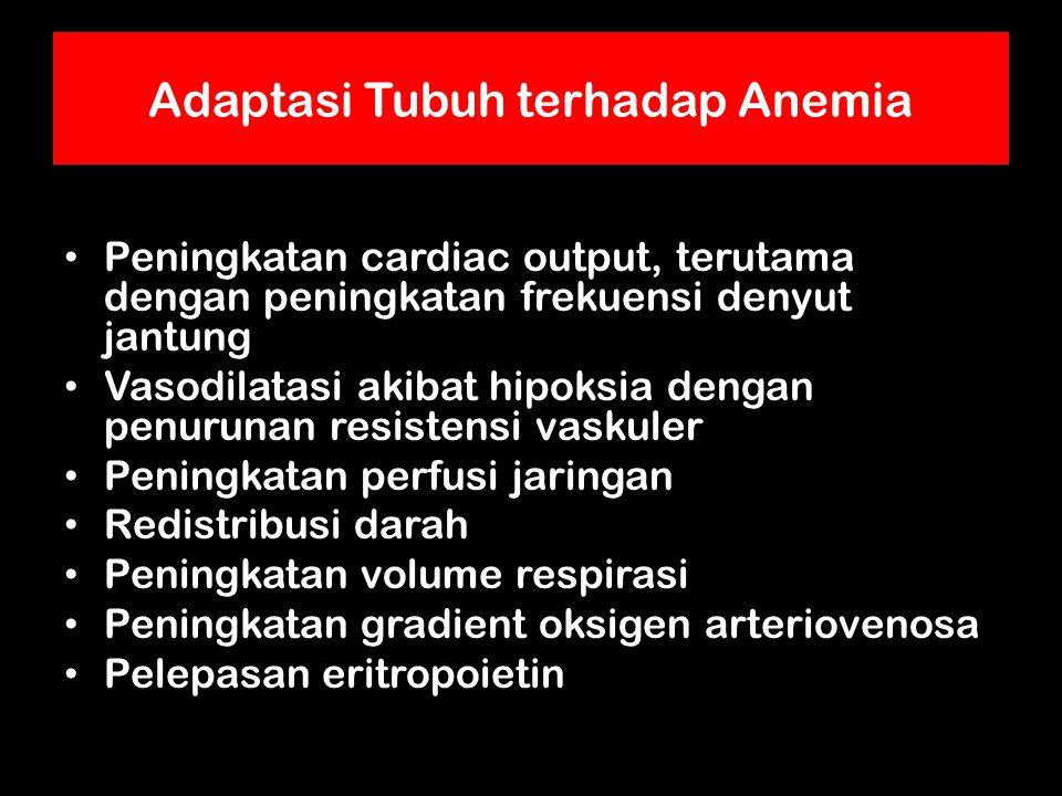 Adaptasi Tubuh terhadap Anemia Peningkatan cardiac output, terutama dengan peningkatan frekuensi denyut jantung Vasodilatasi akibat hipoksia dengan penurunan resistensi vaskuler Peningkatan perfusi jaringan Redistribusi darah Peningkatan volume respirasi Peningkatan gradient oksigen arteriovenosa Pelepasan eritropoietin