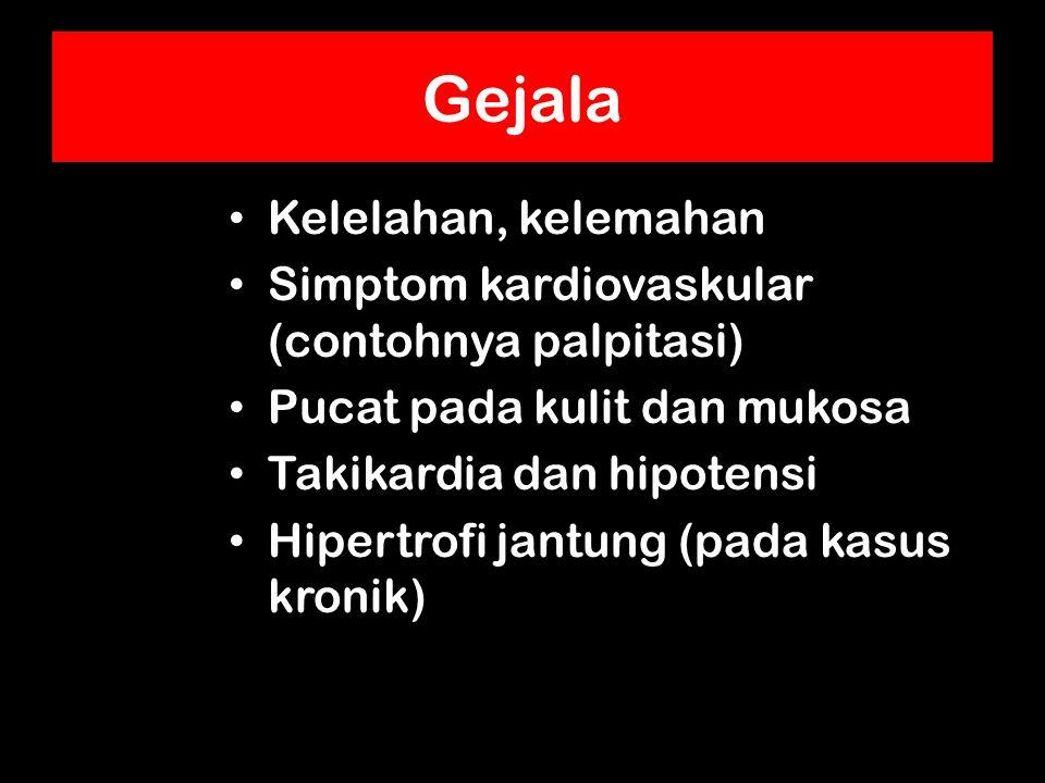 Gejala Kelelahan, kelemahan Simptom kardiovaskular (contohnya palpitasi) Pucat pada kulit dan mukosa Takikardia dan hipotensi Hipertrofi jantung (pada kasus kronik)