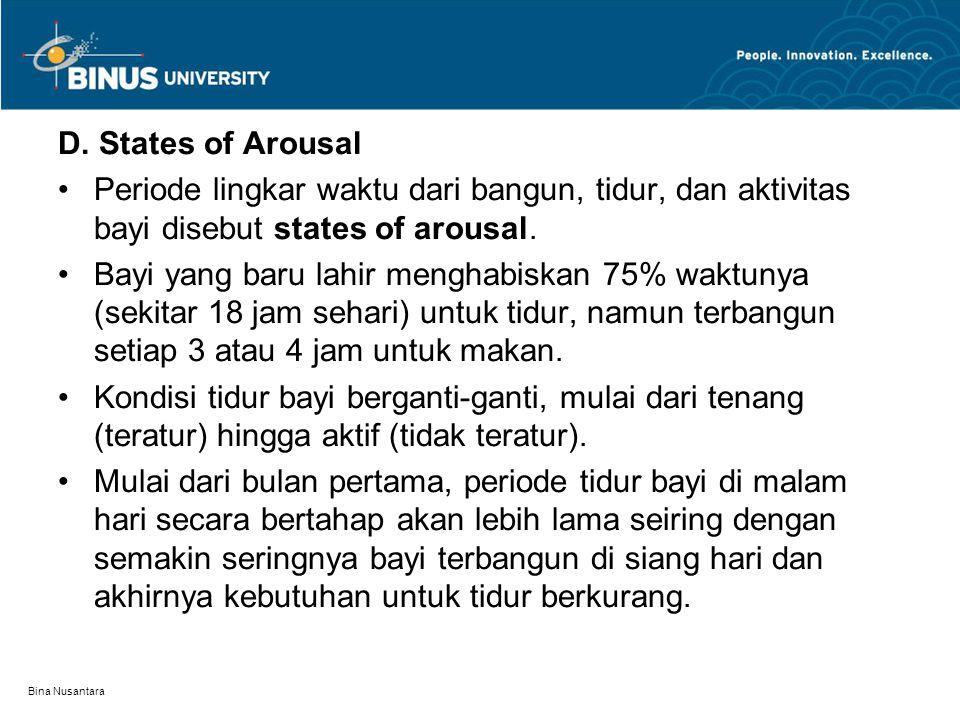 Bina Nusantara D. States of Arousal Periode lingkar waktu dari bangun, tidur, dan aktivitas bayi disebut states of arousal. Bayi yang baru lahir mengh