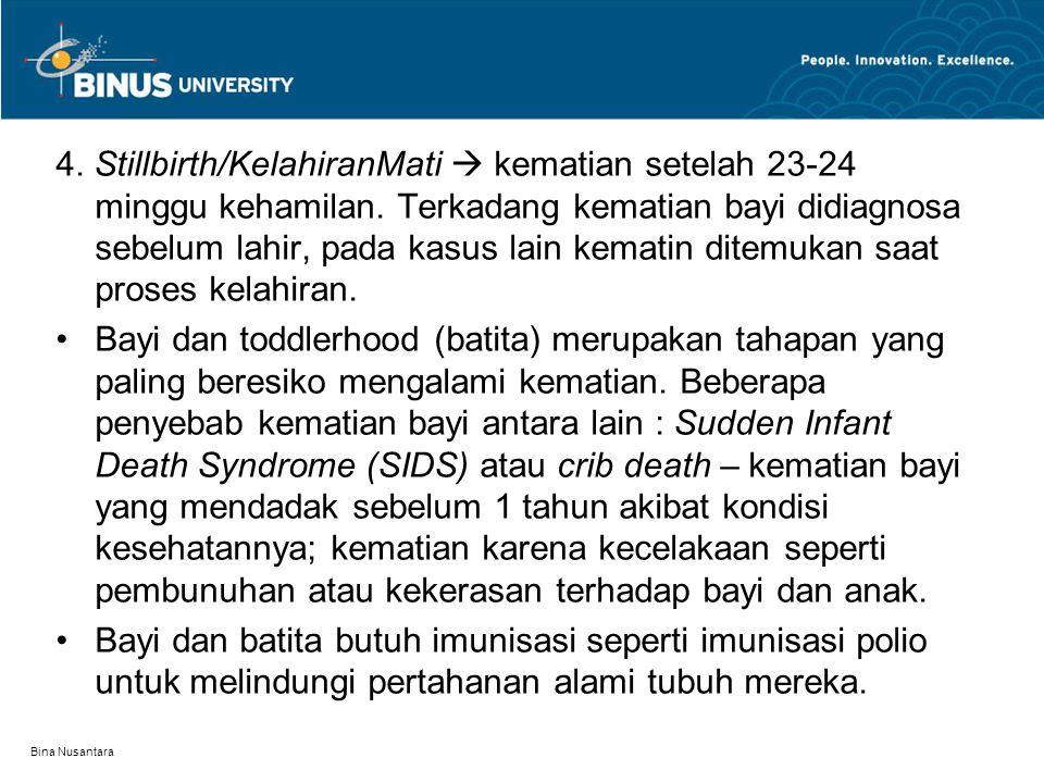 Bina Nusantara 4. Stillbirth/KelahiranMati  kematian setelah 23-24 minggu kehamilan. Terkadang kematian bayi didiagnosa sebelum lahir, pada kasus lai