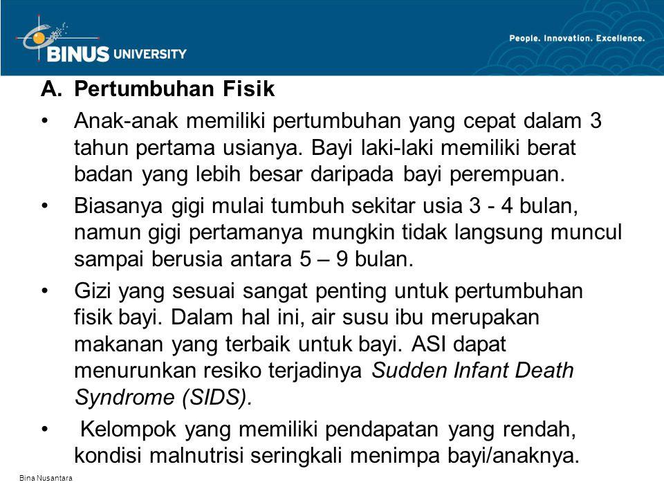 Bina Nusantara A.Pertumbuhan Fisik Anak-anak memiliki pertumbuhan yang cepat dalam 3 tahun pertama usianya. Bayi laki-laki memiliki berat badan yang l
