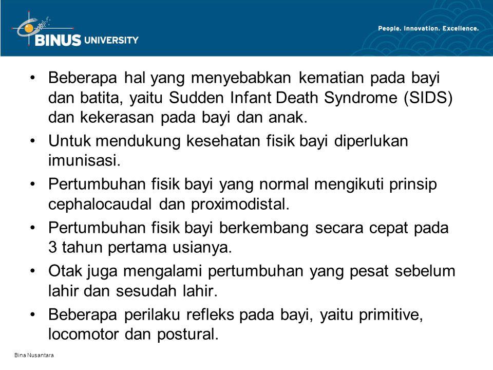 Bina Nusantara Beberapa hal yang menyebabkan kematian pada bayi dan batita, yaitu Sudden Infant Death Syndrome (SIDS) dan kekerasan pada bayi dan anak