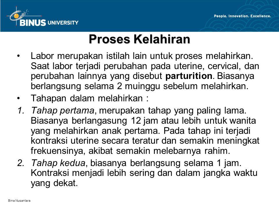 Bina Nusantara Proses Kelahiran Labor merupakan istilah lain untuk proses melahirkan. Saat labor terjadi perubahan pada uterine, cervical, dan perubah
