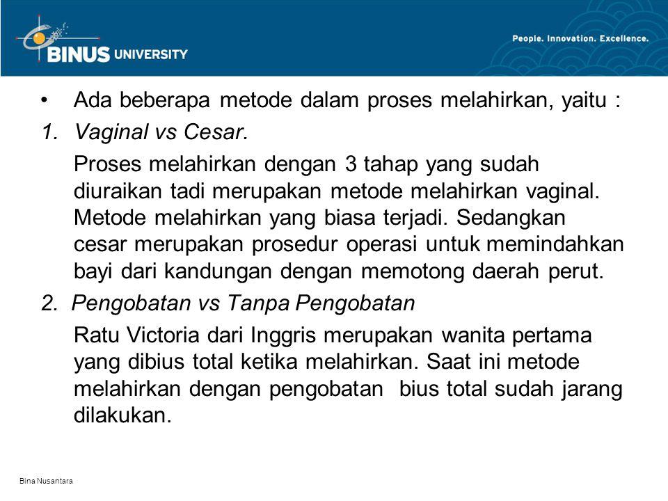 Bina Nusantara Obat-obatan yang dimasukkan dalam tubuh ibu berpotensi membahayakan janin.
