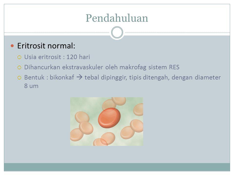 Pendahuluan Eritrosit normal:  Usia eritrosit : 120 hari  Dihancurkan ekstravaskuler oleh makrofag sistem RES  Bentuk : bikonkaf  tebal dipinggir, tipis ditengah, dengan diameter 8 um