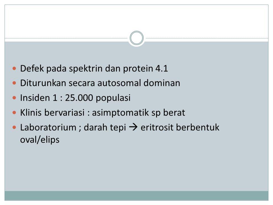 Defek pada spektrin dan protein 4.1 Diturunkan secara autosomal dominan Insiden 1 : 25.000 populasi Klinis bervariasi : asimptomatik sp berat Laboratorium ; darah tepi  eritrosit berbentuk oval/elips