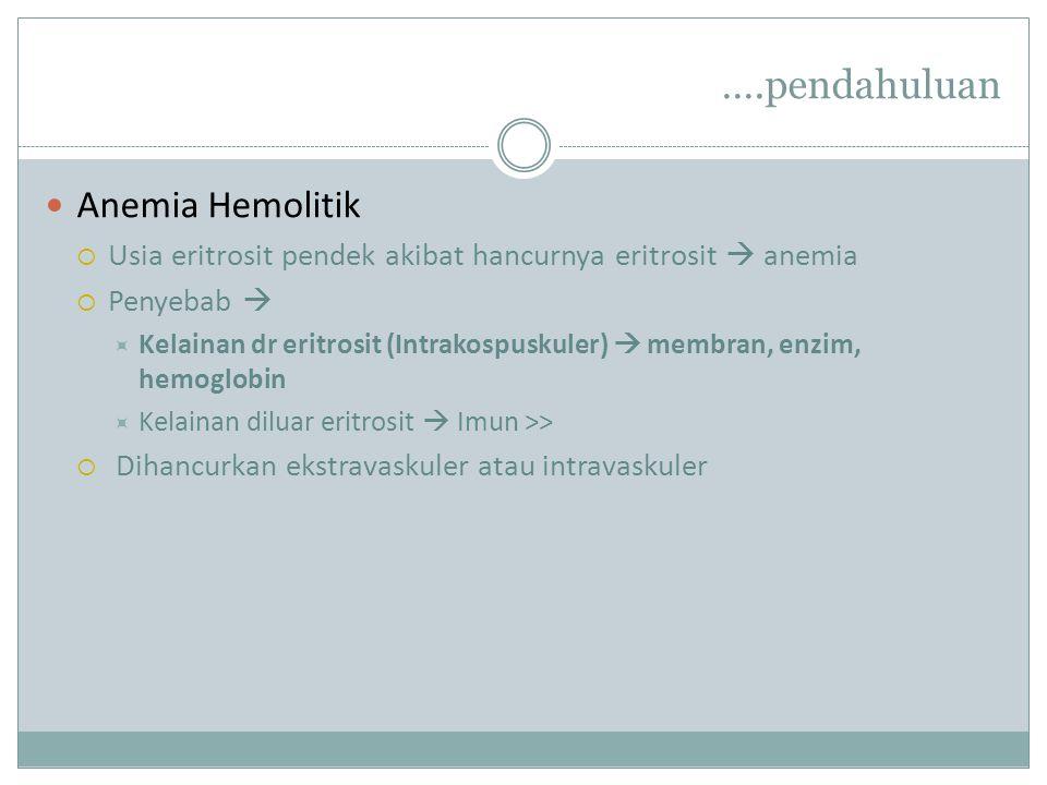….pendahuluan Anemia Hemolitik  Usia eritrosit pendek akibat hancurnya eritrosit  anemia  Penyebab   Kelainan dr eritrosit (Intrakospuskuler)  membran, enzim, hemoglobin  Kelainan diluar eritrosit  Imun >>  Dihancurkan ekstravaskuler atau intravaskuler