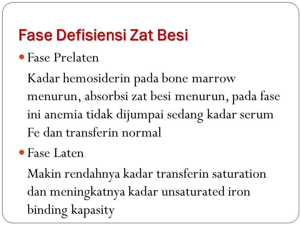 Fase Defisiensi Zat Besi Fase Prelaten Kadar hemosiderin pada bone marrow menurun, absorbsi zat besi menurun, pada fase ini anemia tidak dijumpai seda
