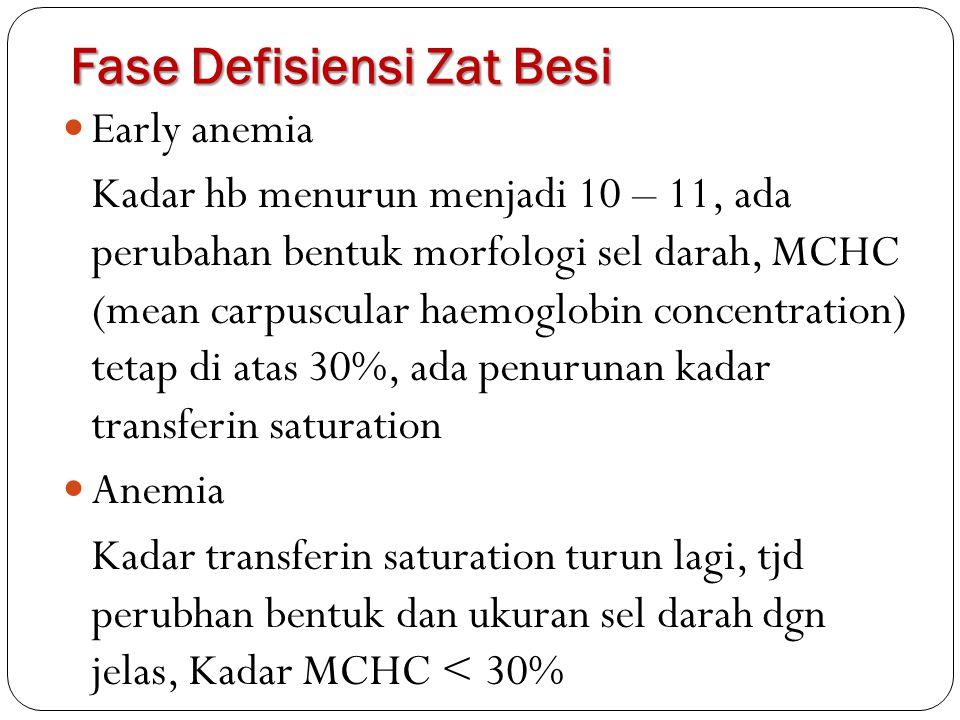 Early anemia Kadar hb menurun menjadi 10 – 11, ada perubahan bentuk morfologi sel darah, MCHC (mean carpuscular haemoglobin concentration) tetap di at