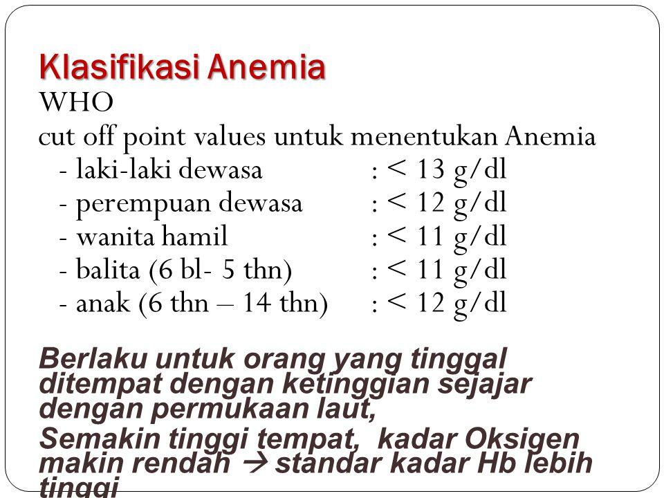 Klasifikasi Anemia WHO cut off point values untuk menentukan Anemia - laki-laki dewasa: < 13 g/dl - perempuan dewasa: < 12 g/dl - wanita hamil: < 11 g