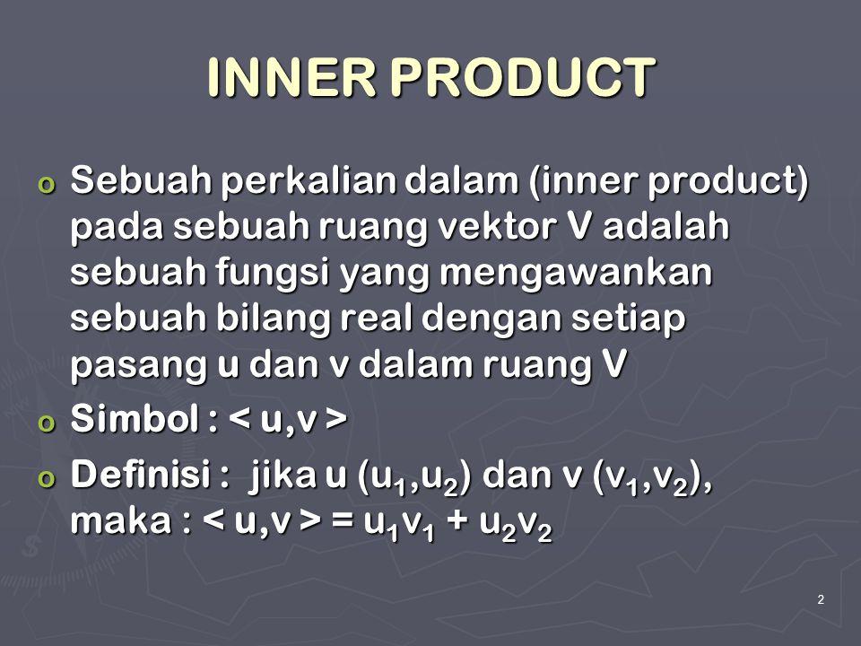 2 INNER PRODUCT o Sebuah perkalian dalam (inner product) pada sebuah ruang vektor V adalah sebuah fungsi yang mengawankan sebuah bilang real dengan se