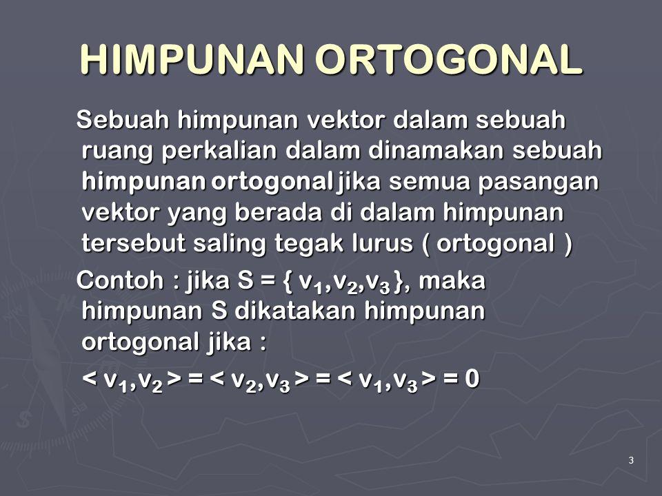 3 HIMPUNAN ORTOGONAL Sebuah himpunan vektor dalam sebuah ruang perkalian dalam dinamakan sebuah himpunan ortogonal jika semua pasangan vektor yang ber