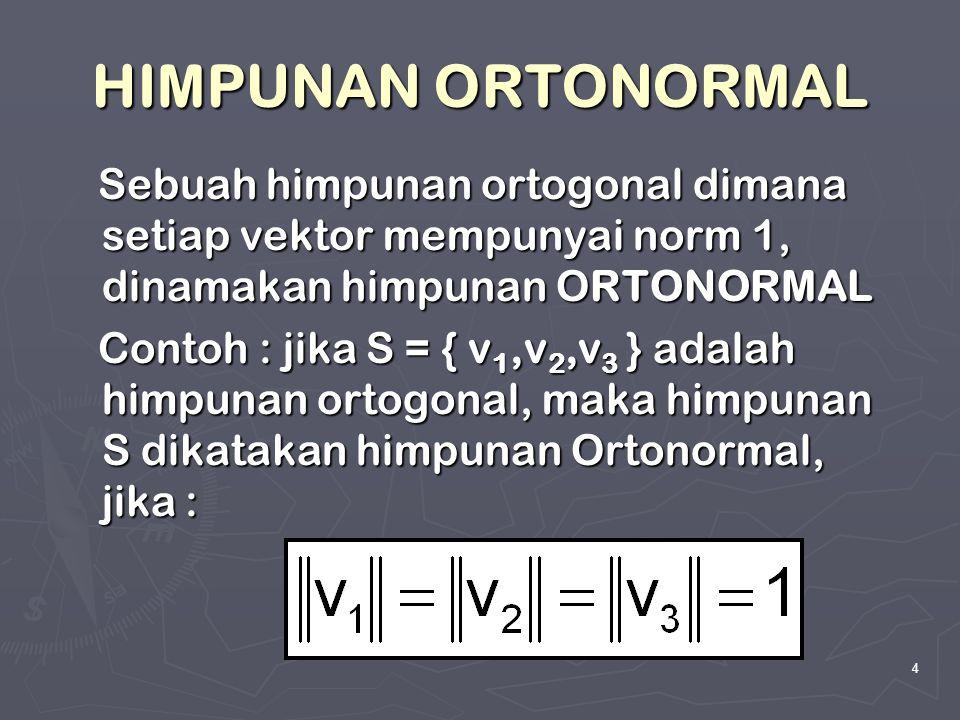4 HIMPUNAN ORTONORMAL Sebuah himpunan ortogonal dimana setiap vektor mempunyai norm 1, dinamakan himpunan ORTONORMAL Sebuah himpunan ortogonal dimana