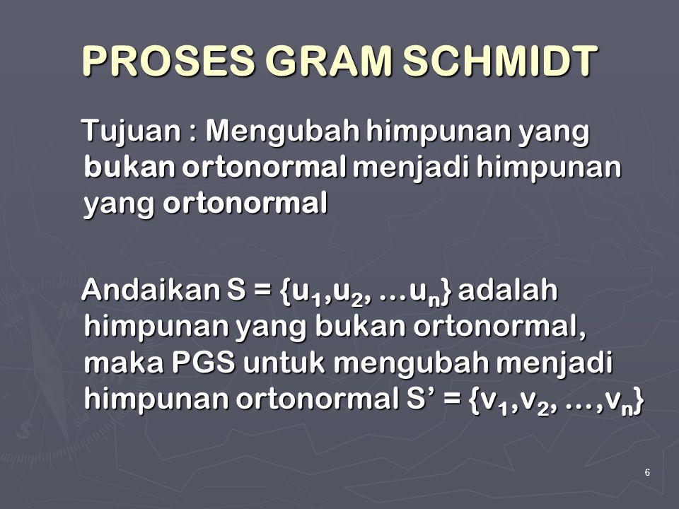 6 PROSES GRAM SCHMIDT Tujuan : Mengubah himpunan yang bukan ortonormal menjadi himpunan yang ortonormal Tujuan : Mengubah himpunan yang bukan ortonorm