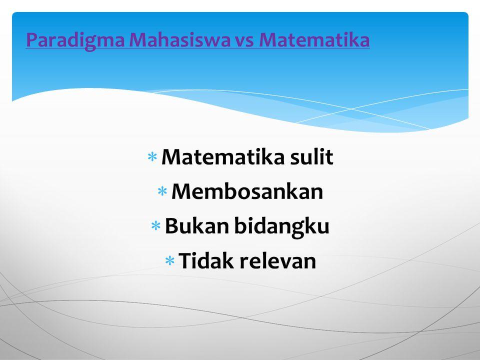  Matematika sulit  Membosankan  Bukan bidangku  Tidak relevan Paradigma Mahasiswa vs Matematika