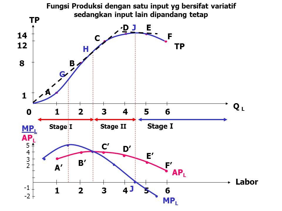 5 4 3 2 -2 123456 MP L AP L A' B' C' D' E' F' Labor J Stage I Stage II Stage I 12 14 Fungsi Produksi dengan satu input yg bersifat variatif sedangkan
