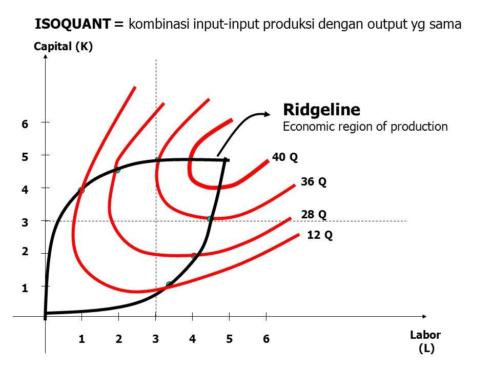 123456 1 2 3 4 5 6 Capital (K) Labor (L) 12 Q 28 Q 36 Q 40 Q Ridgeline Economic region of production ISOQUANT = kombinasi input-input produksi dengan