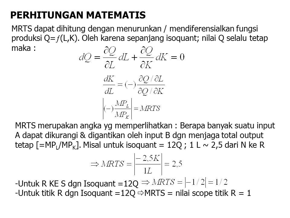 PERHITUNGAN MATEMATIS MRTS dapat dihitung dengan menurunkan / mendiferensialkan fungsi produksi Q=  (L,K). Oleh karena sepanjang isoquant; nilai Q se