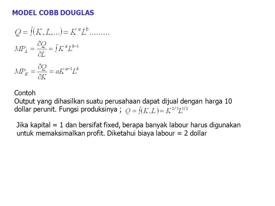 MODEL COBB DOUGLAS Contoh Output yang dihasilkan suatu perusahaan dapat dijual dengan harga 10 dollar perunit. Fungsi produksinya ; Jika kapital = 1 d