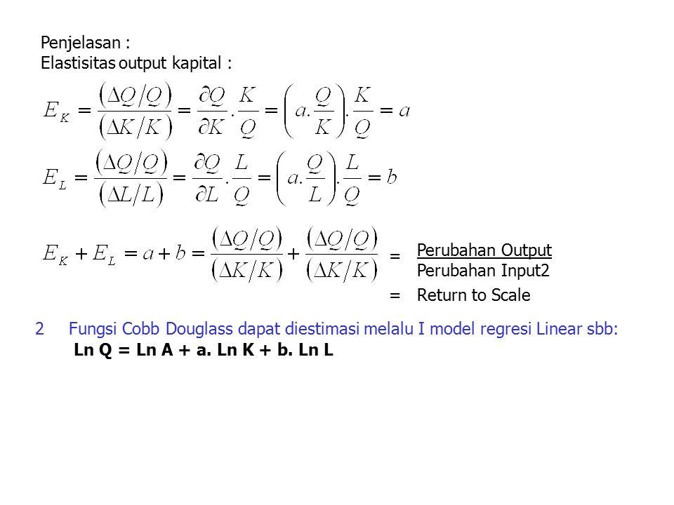 Penjelasan : Elastisitas output kapital : Perubahan Output Perubahan Input2 = =Return to Scale 2Fungsi Cobb Douglass dapat diestimasi melalu I model r
