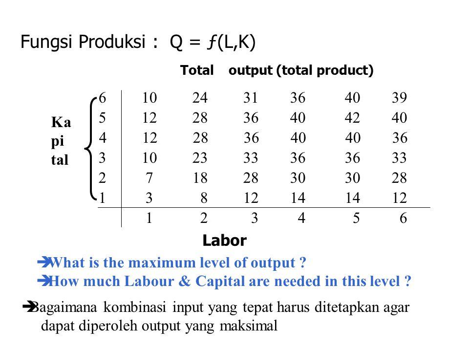 Fungsi Produksi : Q = ƒ(L,K) 6 10 24 31 36 40 39 5 12 28 36 40 42 40 4 12 28 36 40 40 36 3 10 23 33 36 36 33 2 7 18 28 30 30 28 1 3 8 12 14 14 12 1 2