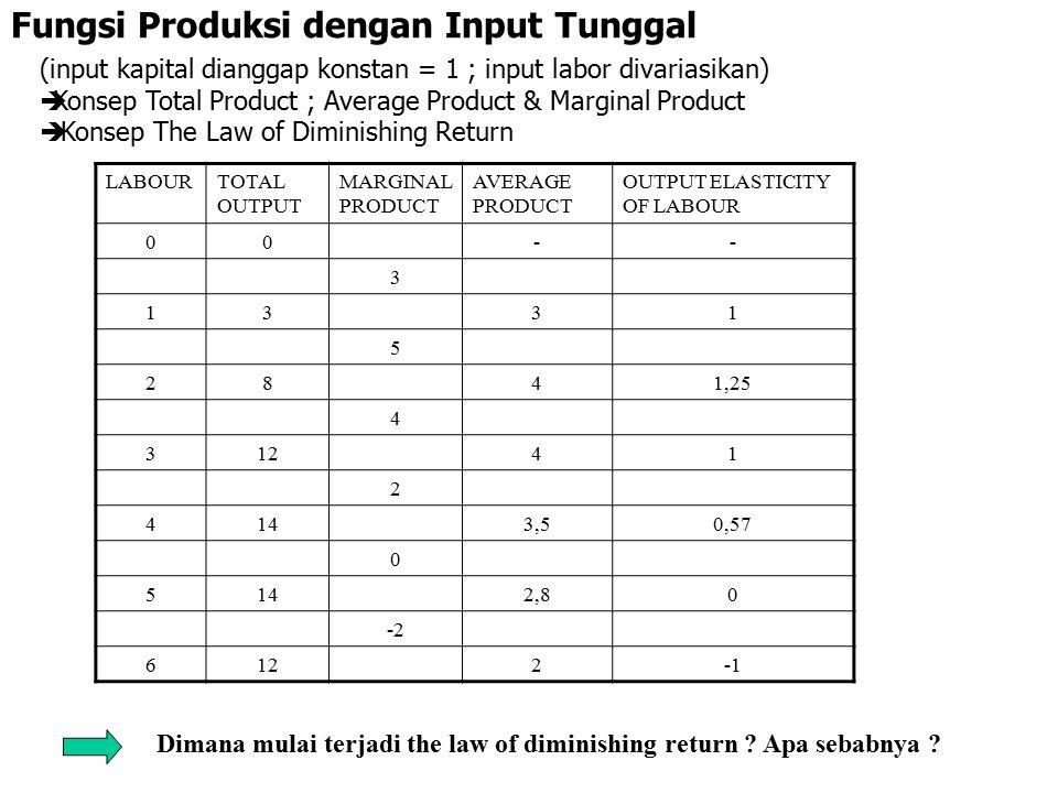Fungsi Produksi dengan Input Tunggal (input kapital dianggap konstan = 1 ; input labor divariasikan)  Konsep Total Product ; Average Product & Margin