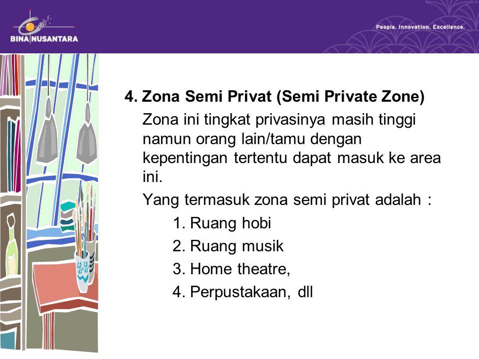 4. Zona Semi Privat (Semi Private Zone) Zona ini tingkat privasinya masih tinggi namun orang lain/tamu dengan kepentingan tertentu dapat masuk ke area