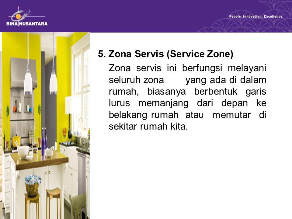 5. Zona Servis (Service Zone) Zona servis ini berfungsi melayani seluruh zona yang ada di dalam rumah, biasanya berbentuk garis lurus memanjang dari d