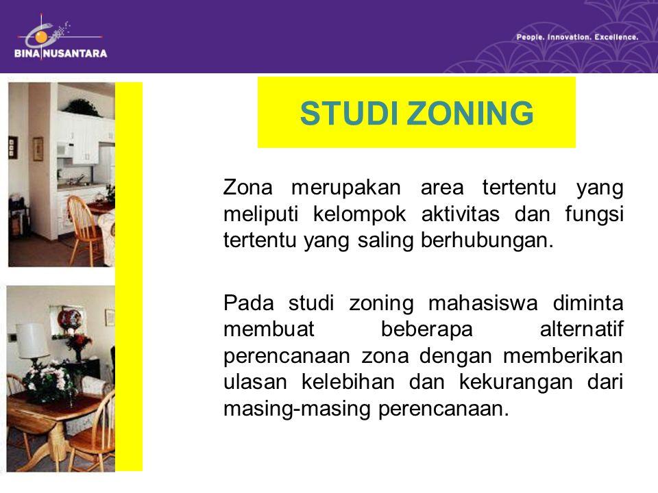 STUDI ZONING Zona merupakan area tertentu yang meliputi kelompok aktivitas dan fungsi tertentu yang saling berhubungan.