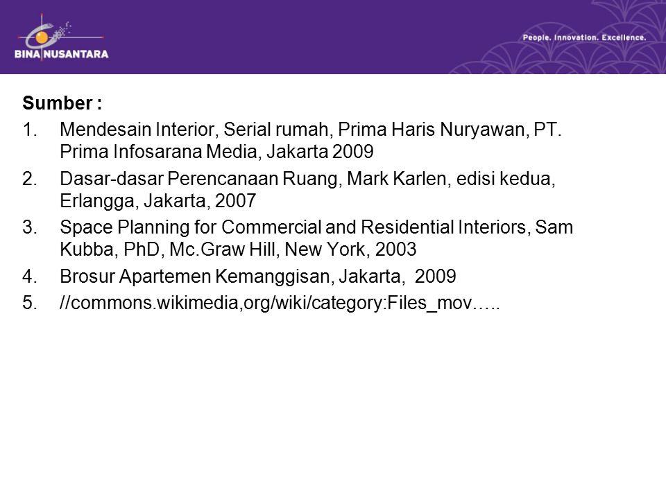 Sumber : 1.Mendesain Interior, Serial rumah, Prima Haris Nuryawan, PT.