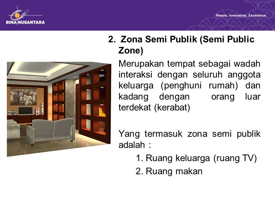 2. Zona Semi Publik (Semi Public Zone) Merupakan tempat sebagai wadah interaksi dengan seluruh anggota keluarga (penghuni rumah) dan kadang dengan ora