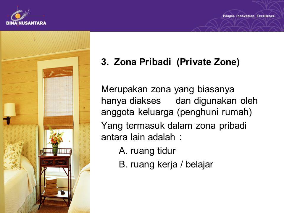 3. Zona Pribadi (Private Zone) Merupakan zona yang biasanya hanya diakses dan digunakan oleh anggota keluarga (penghuni rumah) Yang termasuk dalam zon