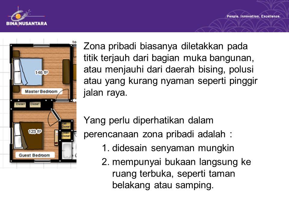 Zona pribadi biasanya diletakkan pada titik terjauh dari bagian muka bangunan, atau menjauhi dari daerah bising, polusi atau yang kurang nyaman seperti pinggir jalan raya.