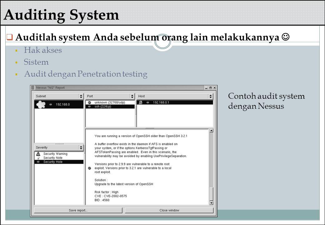 Auditing System  Auditlah system Anda sebelum orang lain melakukannya  Hak akses  Sistem  Audit dengan Penetration testing Contoh audit system den