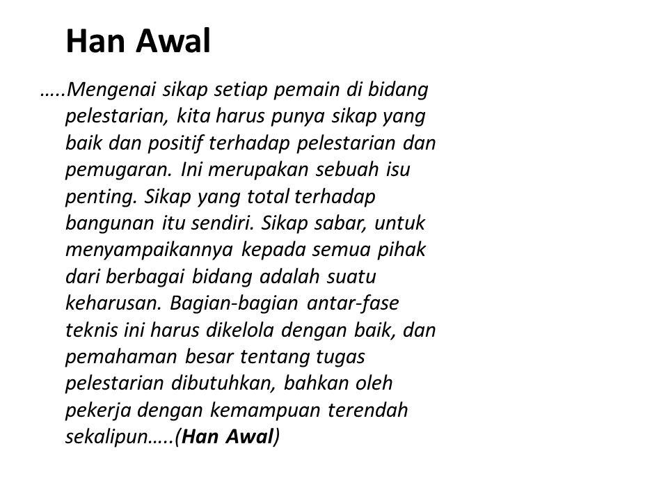 Han Awal …..Mengenai sikap setiap pemain di bidang pelestarian, kita harus punya sikap yang baik dan positif terhadap pelestarian dan pemugaran. Ini m
