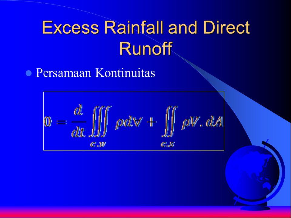 Excess Rainfall and Direct Runoff Persamaan Kontinuitas