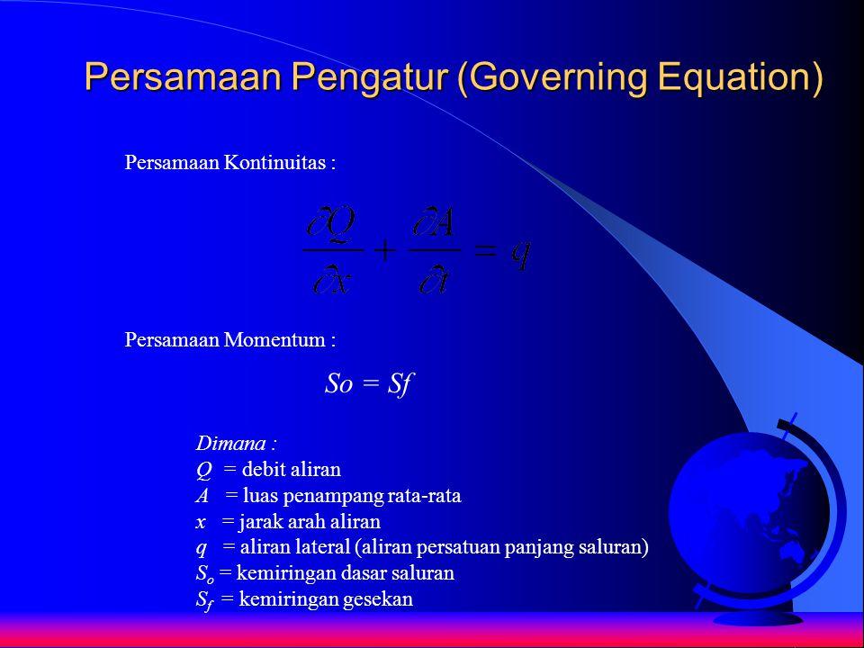 Persamaan Pengatur (Governing Equation) So = Sf Dimana : Q = debit aliran A = luas penampang rata-rata x = jarak arah aliran q = aliran lateral (alira