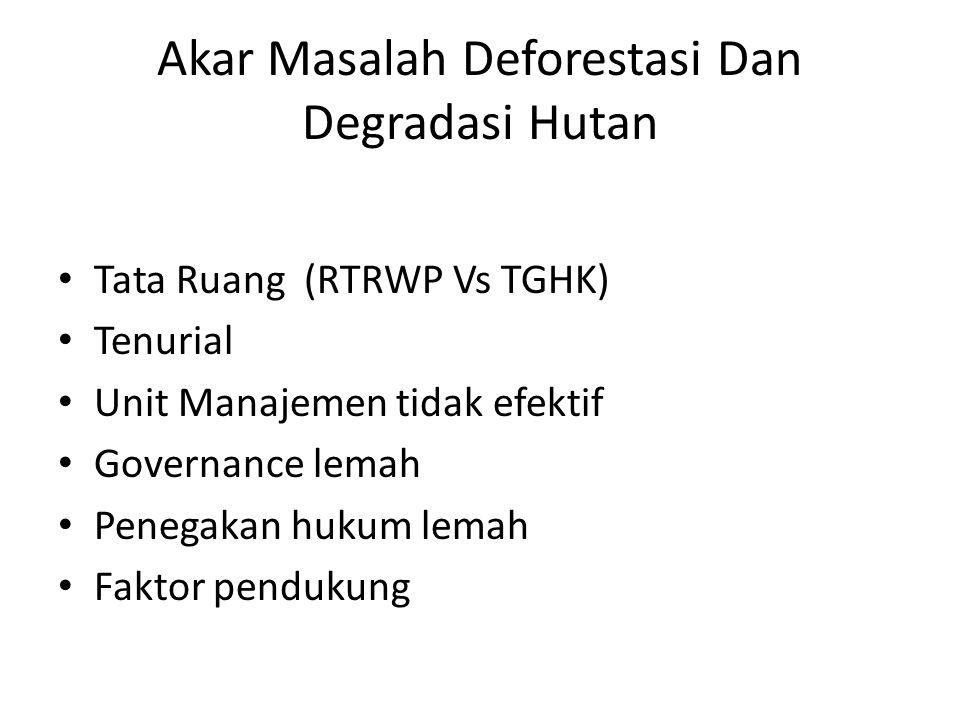 Akar Masalah Deforestasi Dan Degradasi Hutan Tata Ruang (RTRWP Vs TGHK) Tenurial Unit Manajemen tidak efektif Governance lemah Penegakan hukum lemah Faktor pendukung