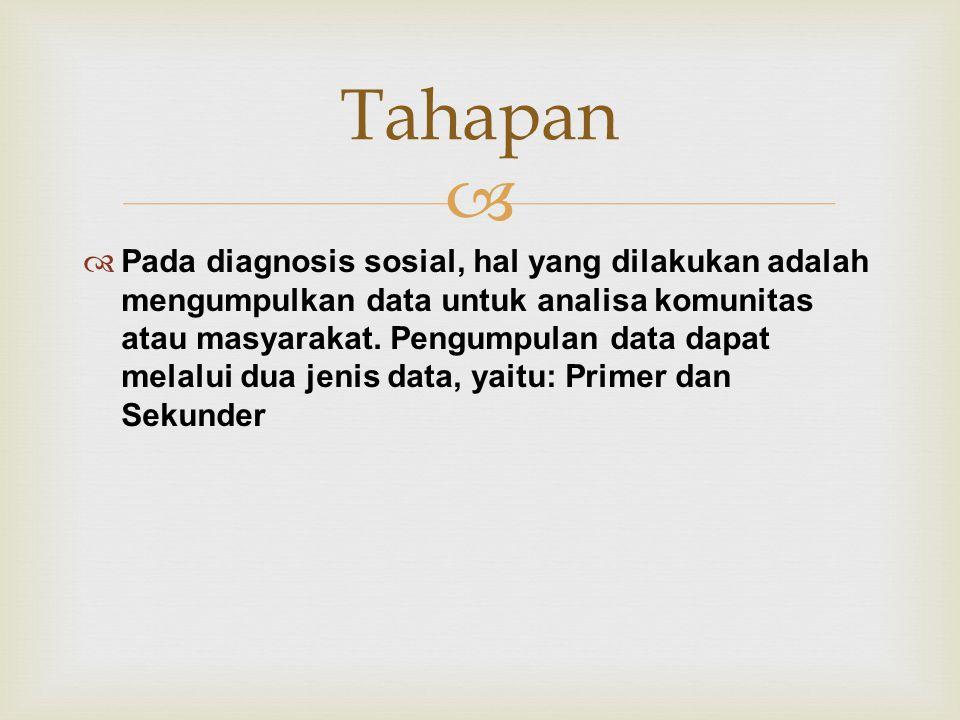   Pada diagnosis sosial, hal yang dilakukan adalah mengumpulkan data untuk analisa komunitas atau masyarakat.