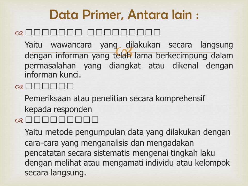  Data Primer, Antara lain :  Indepth Interview Yaitu wawancara yang dilakukan secara langsung dengan informan yang telah lama berkecimpung dalam permasalahan yang diangkat atau dikenal dengan informan kunci.
