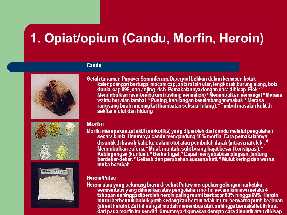 1. Opiat/opium (Candu, Morfin, Heroin) Candu Getah tanaman Papaver Somniferum. Diperjual belikan dalam kemasan kotak kalengdengan berbagai macam cap,