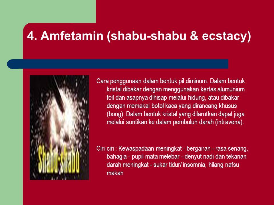 4. Amfetamin (shabu-shabu & ecstacy) Cara penggunaan dalam bentuk pil diminum. Dalam bentuk kristal dibakar dengan menggunakan kertas alumunium foil d