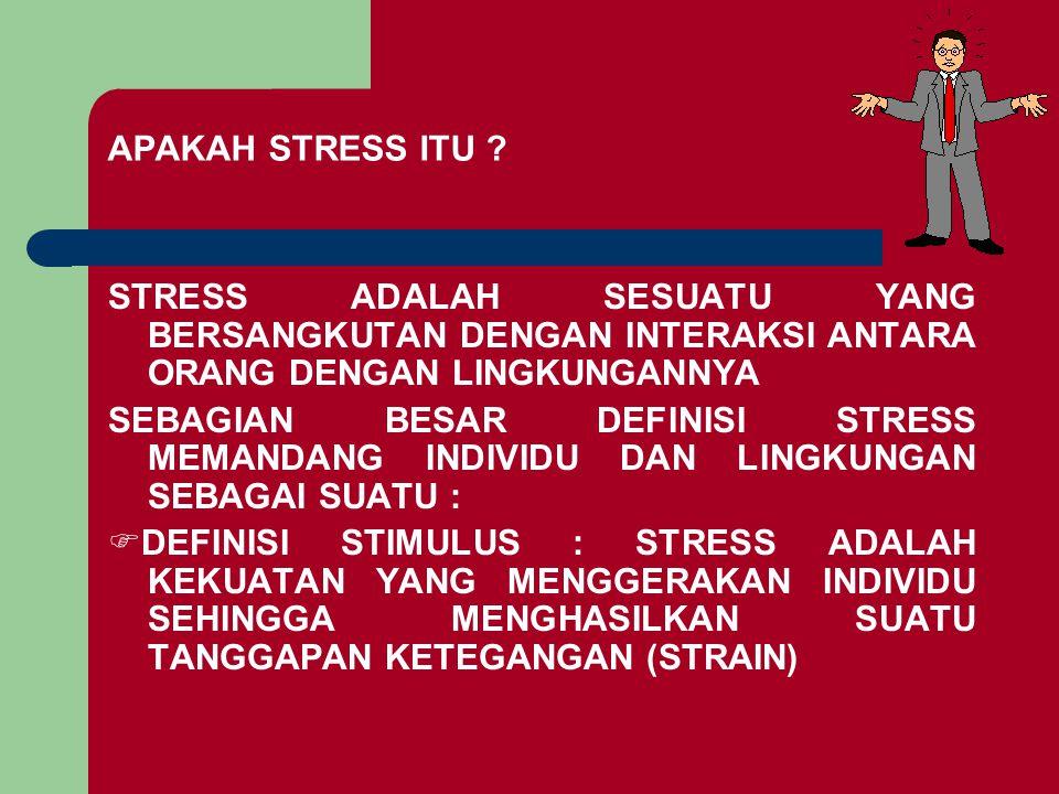APAKAH STRESS ITU ? STRESS ADALAH SESUATU YANG BERSANGKUTAN DENGAN INTERAKSI ANTARA ORANG DENGAN LINGKUNGANNYA SEBAGIAN BESAR DEFINISI STRESS MEMANDAN