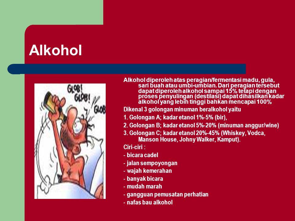 Alkohol Alkohol diperoleh atas peragian/fermentasi madu, gula, sari buah atau umbi-umbian. Dari peragian tersebut dapat diperoleh alkohol sampai 15% t
